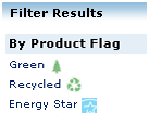 When searching for products, you can also filter for green flags by using the filtering options on the side of your screen.
