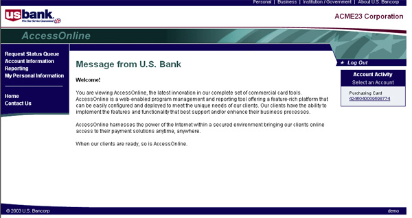 Bank message