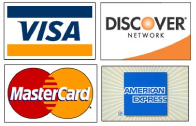 major credit cards accepted. four major credit cards: