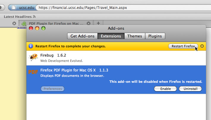 FireFox: Restart to disable plugin