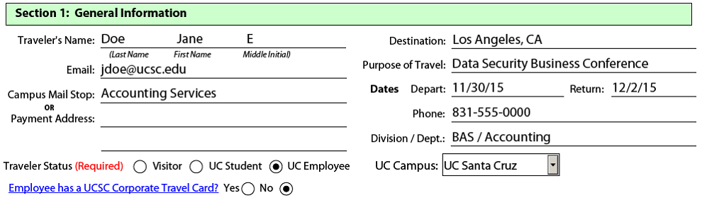 Travel Forms Help